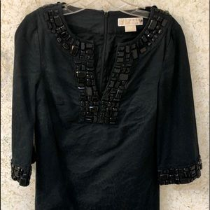 Michael Kors S/P Black Jeweled Top Lined Zipper
